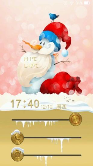 应用简介: 这是一款冬日雪人主题锁屏,在暖暖的冬日里,给自己换上一